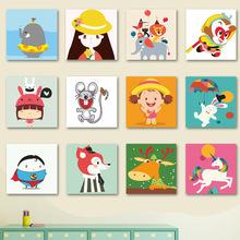 diy数字油画客厅卧室 动漫卡通儿童动物一套20x20 可爱宠物连连看