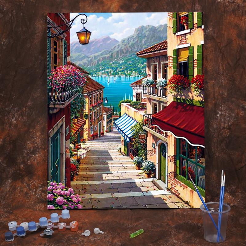 diy数字油画油彩画客厅卧室风景抽象人物花卉填色手绘装饰画街景