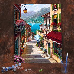 饰画街景 diy数字油画油彩画客厅卧室风景抽象人物花卉填色手绘装