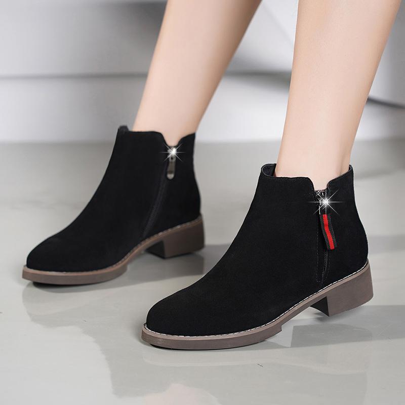 冬新款金特 百丽短靴女马丁靴磨砂皮中跟粗跟切尔西靴短筒靴女鞋