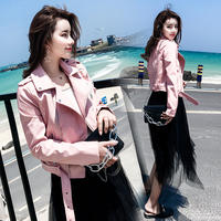 2018 autumn and winter new leather women's short section Korean version of the self-cultivation locomotive pu leather jacket plus velvet pink black jacket female