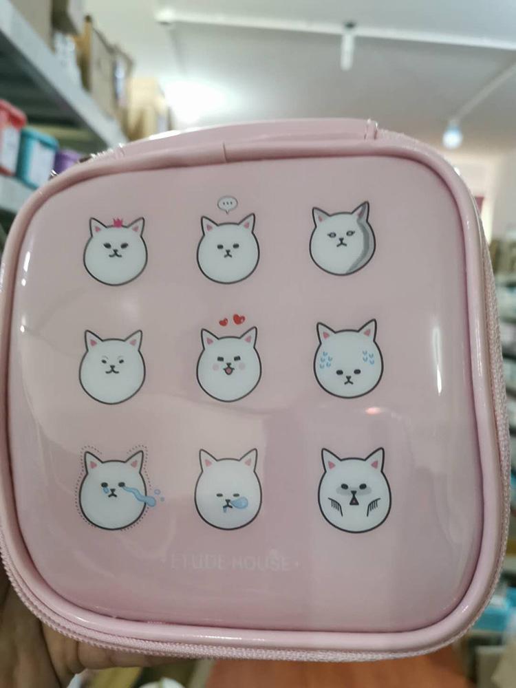 清仓特价 韩国Etude house爱丽小屋化妆包猫咪化妆包粉色黑色