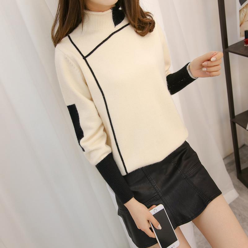 半高领套头毛衣女上衣女装秋冬季新款韩版宽松套头拼色打底针织衫