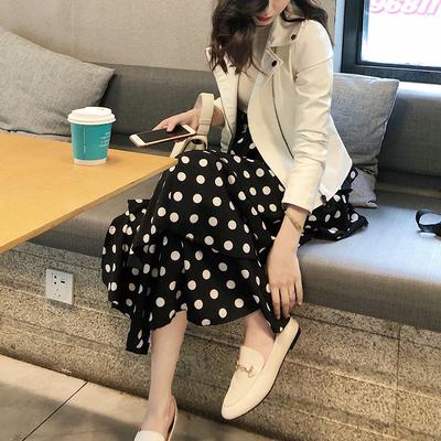 雪纺中长裙女秋季2018新款圆点波点半身裙百褶裙高腰韩版a字裙子