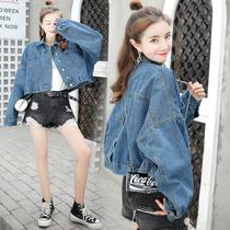 春秋牛仔外套女2019新款韩版宽松百搭短款蝙蝠袖学生大码牛仔衣潮