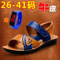 Boys sandals 2019 new Korean version of the summer children's leather beach shoes non-slip children's leather soft open toe