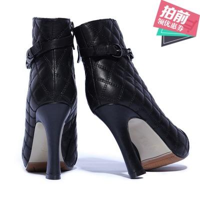 春秋季真皮粗跟加绒防水台女鞋时尚高跟网红短靴牛皮齐踝靴小香风