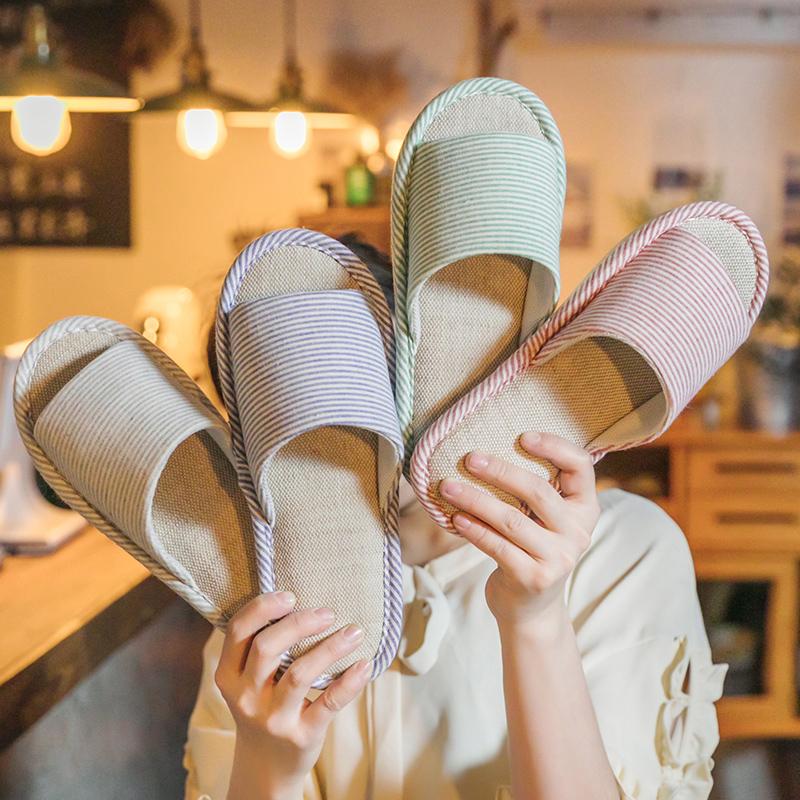 拖鞋女男居家室内防滑家用四季家居地板棉麻软底春夏亚麻拖鞋批发图片
