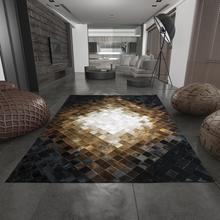 美式客厅 卧室床边马毛地毯真皮手工拼接茶几沙发简约牛皮地毯