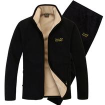 Épaississement de l'hiver plus velours chaud set hiver jeune et moyen mâle collier vertical cardigan loose pantalon sport Sportswear ensemble