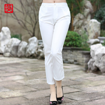 葵牌2018秋装新款中老年女装时尚休闲裤女中年妈妈装大码白色裤子
