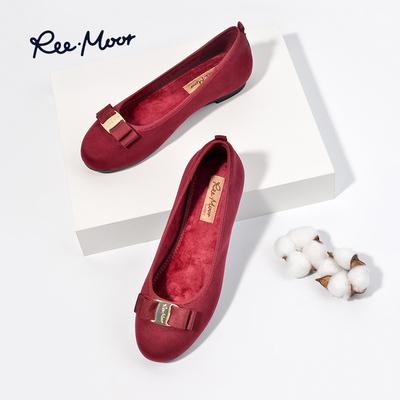 reemoor新款浅口平底绒面女鞋牛筋底工作鞋孕妇单鞋舒卷鞋R21803