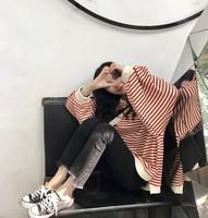 包邮 好看的 新款条纹长袖宽松 2017韩版女秋季套头卫衣
