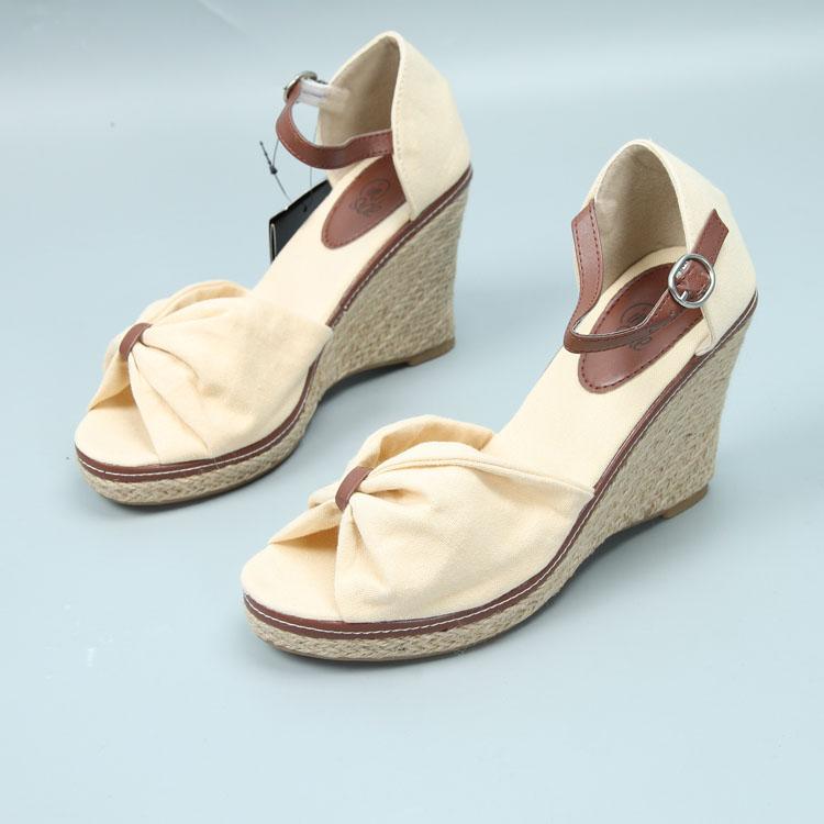 包邮 西班牙单 鱼嘴坡跟凉鞋防水台厚底麻底鞋大码女鞋