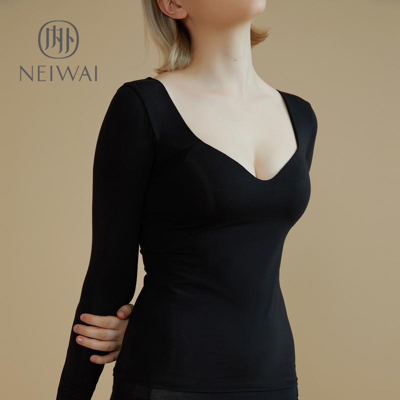 NEIWAI内外带文胸上衣带胸垫长袖打底睡衣女家居服内搭无钢圈