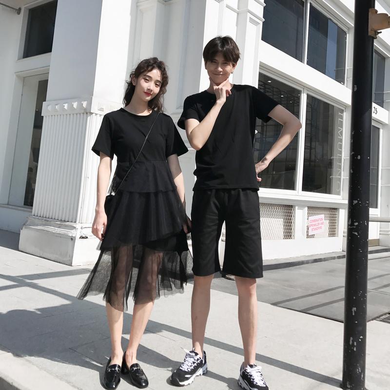 不一样的情侣装夏装一套装 两件套潮流超仙ins时髦蛋糕裙连衣裙子