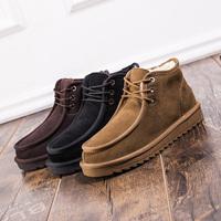 雪地靴男短靴冬季加绒加厚保暖棉鞋低帮面包鞋真皮高帮防滑休闲鞋