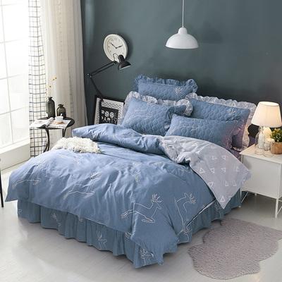 纯棉加厚夹棉床裙式四件套全棉床罩款加棉床套笠1.51.8米床上用品是什么牌子