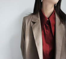 JO-JO-Z exclusive tobacco-coloured long-sleeved suit with loose temperament and neat shape