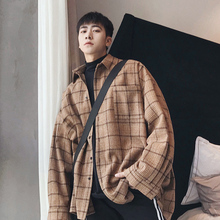 Fall 2019 retro casual oversize checked shirt men's Korean version trend in Long-style outerwear shirt jacket