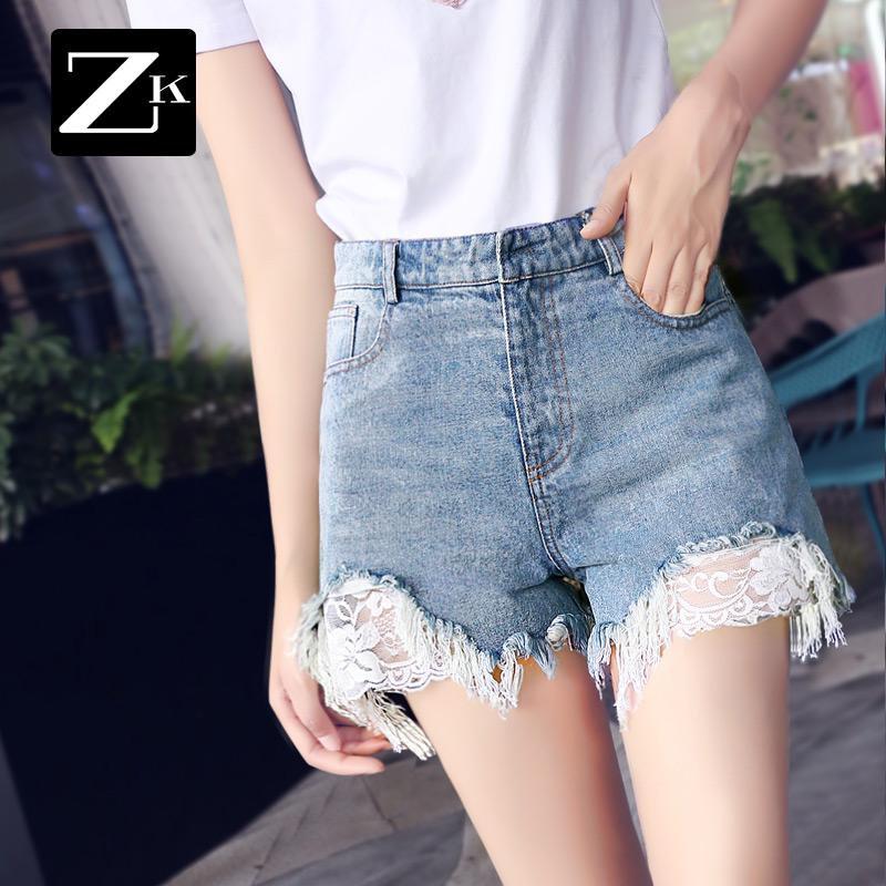 韩版蕾丝牛仔短裤