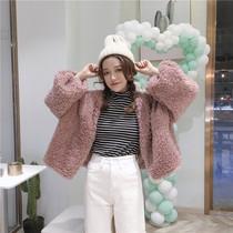 【天天特价】韩版宽松短款保暖外套毛绒绒长袖加厚开衫学生上衣潮