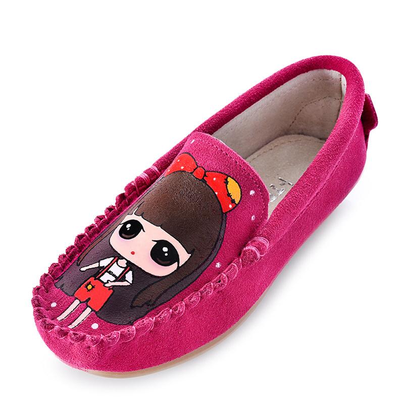 真皮豆豆鞋春秋童鞋亲子鞋女童手绘公主皮鞋儿童牛皮休闲鞋母女鞋
