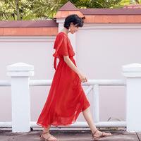 大红色连衣裙夏2017新款露背长裙海边度假海滩裙沙滩裙旅拍裙子仙
