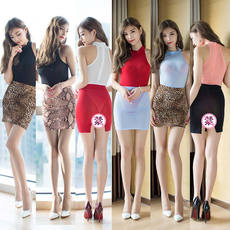 New onesies short skirt suit ladies uniform suit bag hip skirt ultra-thin nightclub sexy after split perspective skirt