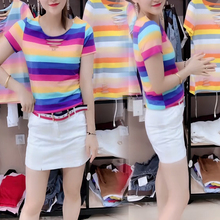 T-shirt European Station Summer fashion women's round collar hole color striped short-sleeved shirt style self-cultivation half-sleeve