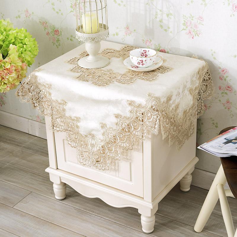 欧式蕾丝田园桌布空调罩 方桌布艺盖布卧室防尘罩 床头柜多用盖巾