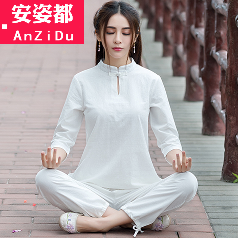 lay clothing women's suits cotton and linen tea service Zen meditation suit Hanfu Chinese style summer dress