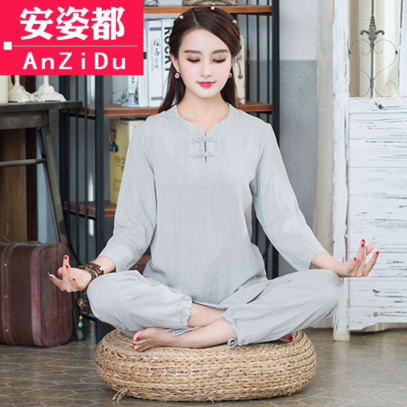 lay clothing women's suit cotton and linen Chinese style Chinese women's costume Tea Service Zen Yoga