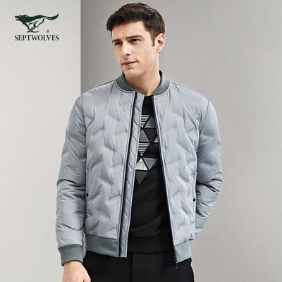 七匹狼冬装羽绒服男短款加厚棒球领男士外套中青年保暖白鸭绒上衣