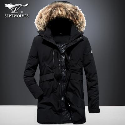七匹狼运动羽绒服男冬季加厚外套青年中长款保暖休闲貉子毛领大衣