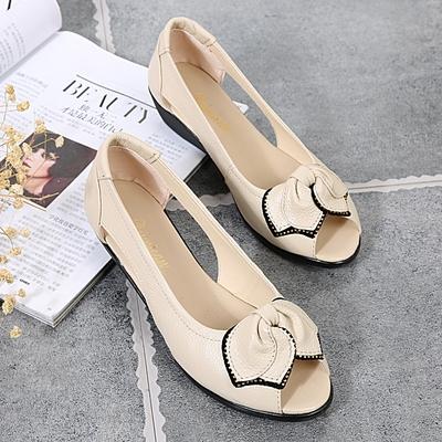 罗马夏新款真皮浅口中跟鱼嘴鞋凉鞋女坡跟镂空妈妈鞋女鞋平底休闲