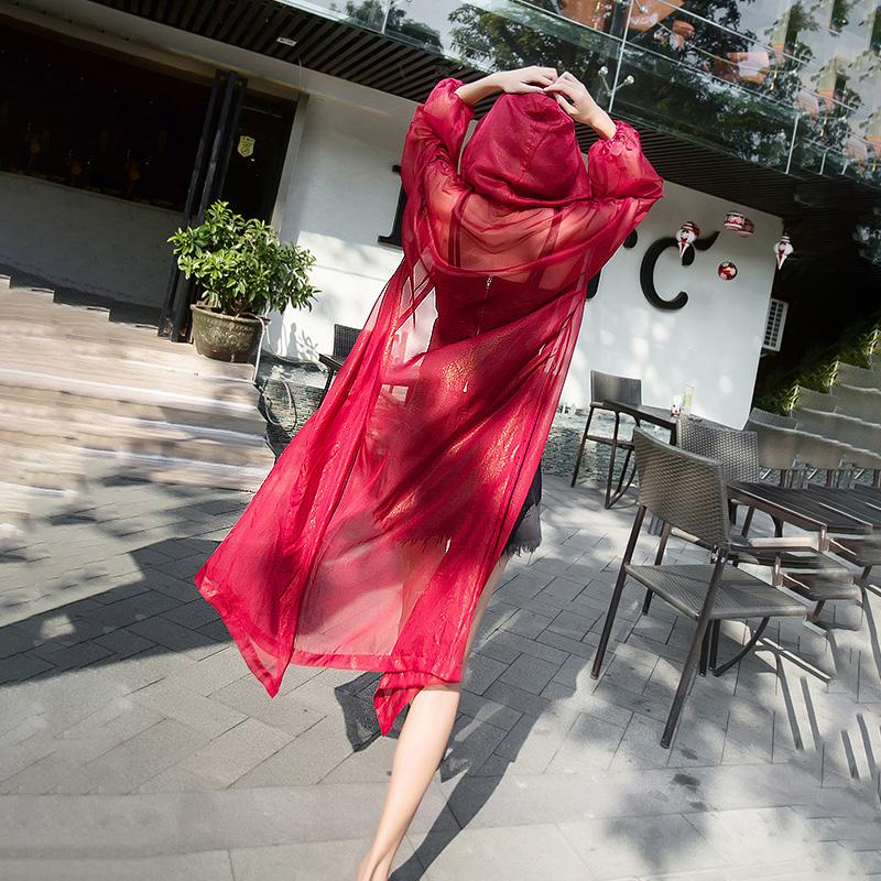 早秋上衣女连帽薄外套宽松网纱雪纺开衫泰国旅游度假中长款防晒衣