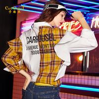 卡路丝2019春季新款个性格纹纯色撞色拼接荷叶边字母印花女装衬衫