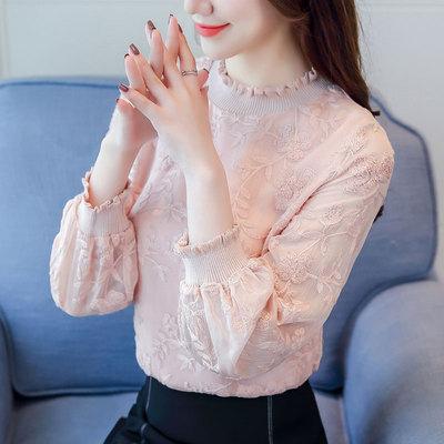 秋装女2018新款长袖绣花雪纺上衣服时尚蕾丝打底衫女长袖洋气小衫