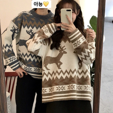Thickened Christmas Deer Sweater Winter Female 2018 New Chic Loose Couple Pullovers