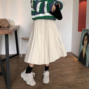 高腰鹿皮绒半身裙子冬季女2018新款百搭港风显瘦中长款纯色百褶裙