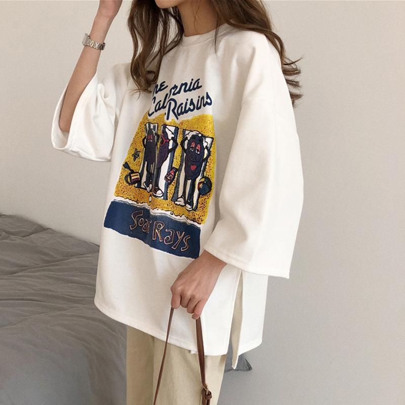 简约印花字母开叉七分袖套头T恤学生春夏新款韩版中长款上衣女装