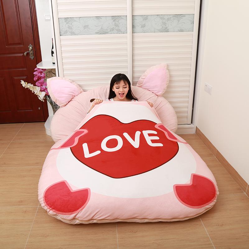创意龙猫床懒人沙发床单双人12生肖卡通榻榻米床垫可爱卧室小沙发5元优惠券