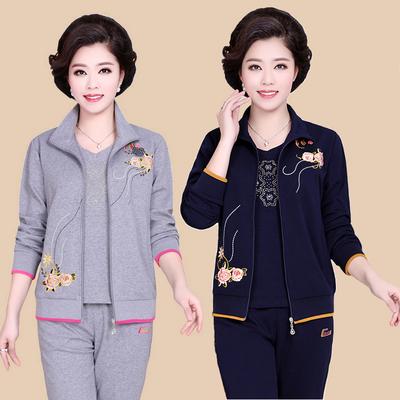 中年运动服女装春秋季三件套装妈妈装棉中老年人运动服加肥加大码