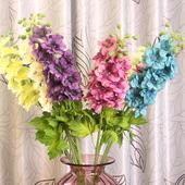 单支欧式飞燕草仿真花束 假花干花布花 客厅装饰花落地摆设花枝