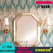 包邮现代浴室镜金色立体镜梳妆镜长方形美式卫浴镜洗手间装饰镜子