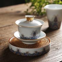 珐琅彩陶瓷三才盖碗茶杯白瓷功夫茶具茶碗大号壶承泡茶公道杯套装
