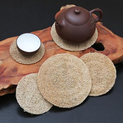 日式手工丝瓜络养壶垫 藤茶杯垫紫砂壶杯托 茶道竹木茶具配件壶承