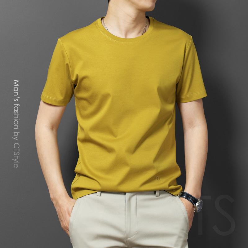 夏季男士丝光棉短袖T恤冰丝纯色V领体恤中年圆领宽松纯棉爸爸男装
