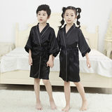 Customized children's silk robe black performance out of the model catwalk T-home robes training class printing bathrobe